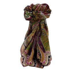 Traditional Maulbeereseide Quadratischer Tuch Zubin Black von Pashmina & Silk