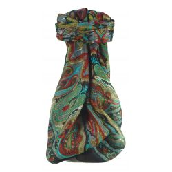 Mulberry Silk Traditional Square Scarf Queta Black by Pashmina & Silk