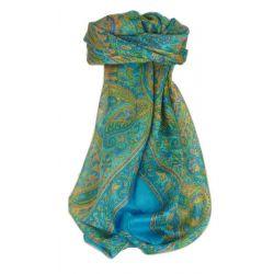Traditional Maulbeereseide Quadratischer Tuch ZAZIM AQUA von Pashmina & Silk