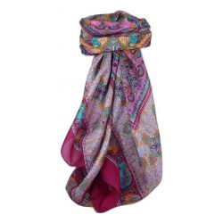 Classic Paisley Square Scarf Mulberry Silk Dyal Carnation by Pashmina & Silk