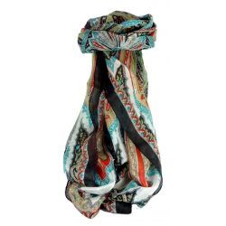 Mulberry Silk Traditional Long Scarf Johal Black by Pashmina & Silk
