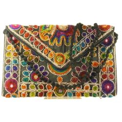 Silk Handbag Peacock Clutch Black by Silk Sauvage at Pashmina & Silk