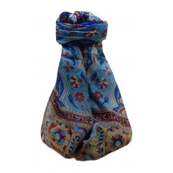 Mulberry Silk Traditional Long Scarf  Meri Blue by Pashmina & Silk