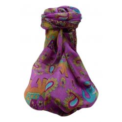 Mulberry Silk Traditional Long Scarf  Qamar Violet by Pashmina & Silk