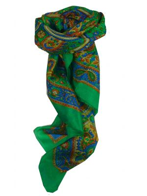 Mulberry Silk Traditional Square Scarf Kalinda Teal by Pashmina & Silk