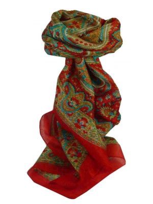 Mulberry Silk Traditional Square Scarf Kalinda Red by Pashmina & Silk