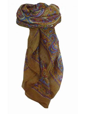 Mulberry Silk Traditional Square Scarf Kalinda Caramel by Pashmina & Silk