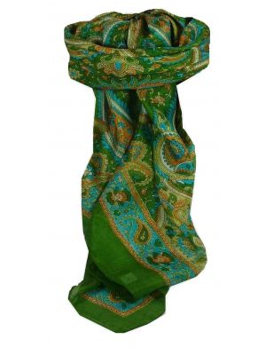 Mulberry Silk Traditional Square Scarf Kalinda Sage by Pashmina & Silk