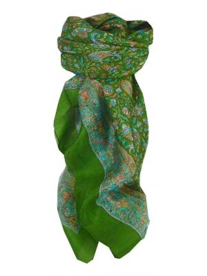 Mulberry Silk Traditional Square Scarf Kalpi Sage by Pashmina & Silk