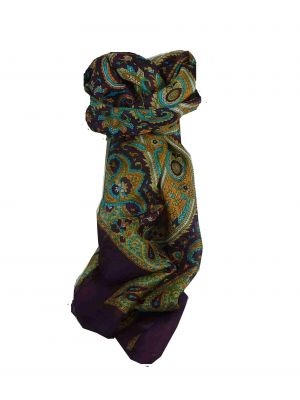 Mulberry Silk Traditional Square Scarf Kalinda Damask by Pashmina & Silk