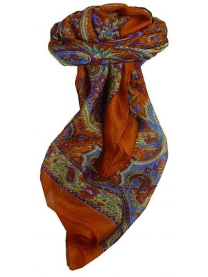 Mulberry Silk Traditional Square Scarf Kalinda Terracotta by Pashmina & Silk
