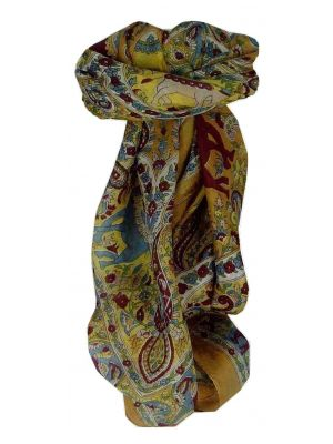 Mulberry Silk Traditional Square Scarf Kaladi Caramel by Pashmina & Silk