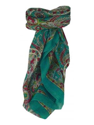 Mulberry Silk Traditional Square Scarf Kaladi Teal by Pashmina & Silk