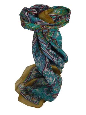 Mulberry Silk Traditional Square Scarf Guyan Caramel by Pashmina & Silk