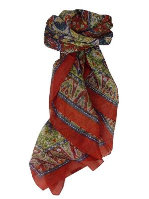 Mulberry Silk Traditional Square Scarf Guyan Flame by Pashmina & Silk