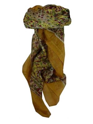 Mulberry Silk Traditional Square Scarf Har Caramel & Wine by Pashmina & Silk