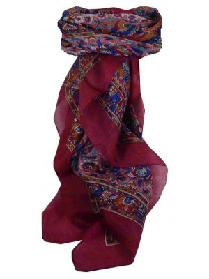 Mulberry Silk Traditional Square Scarf Har Fuchsia & Blue by Pashmina & Silk