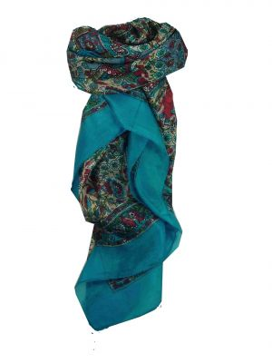 Mulberry Silk Traditional Square Scarf Har Aquamarine by Pashmina & Silk