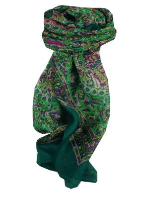 Mulberry Silk Traditional Square Scarf Har Teal by Pashmina & Silk