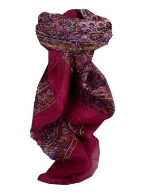 Mulberry Silk Traditional Square Scarf Har Fuchsia by Pashmina & Silk