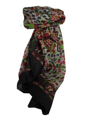 Mulberry Silk Traditional Square Scarf Har Black by Pashmina & Silk
