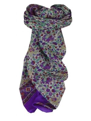 Mulberry Silk Traditional Square Scarf Jaipur Purple by Pashmina & Silk