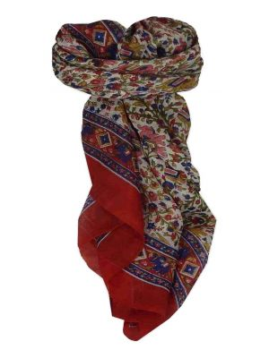 Mulberry Silk Traditional Square Scarf Jaipur Red by Pashmina & Silk