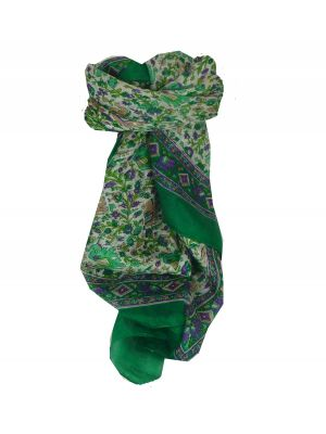 Mulberry Silk Traditional Square Scarf Jaipur Green by Pashmina & Silk
