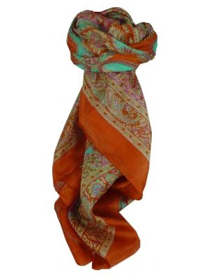 Mulberry Silk Traditional Square Scarf Fulki Terracotta by Pashmina & Silk