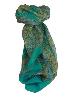 Mulberry Silk Traditional Square Scarf Fulki Aquamarine by Pashmina & Silk