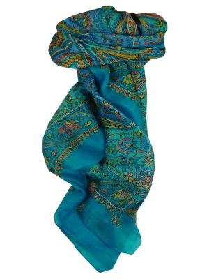 Mulberry Silk Traditional Square Scarf Dida Aquamarine by Pashmina & Silk