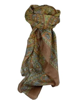 Mulberry Silk Traditional Square Scarf Donya Coffee by Pashmina & Silk