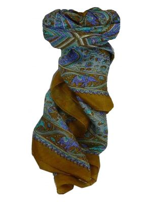 Mulberry Silk Traditional Square Scarf Dida Caramel by Pashmina & Silk