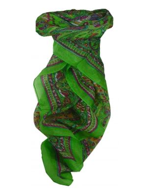 Mulberry Silk Traditional Square Scarf Dawa Citron Vert by Pashmina & Silk