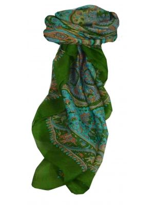 Mulberry Silk Traditional Square Scarf Dida Sage by Pashmina & Silk