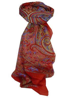 Mulberry Silk Traditional Square Scarf Dida Red by Pashmina & Silk