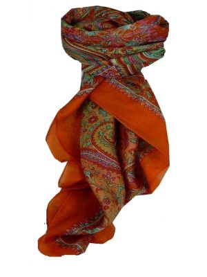 Mulberry Silk Traditional Square Scarf Dida Terracotta by Pashmina & Silk