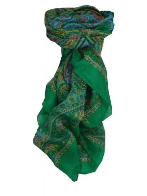 Mulberry Silk Traditional Square Scarf Dida Teal by Pashmina & Silk