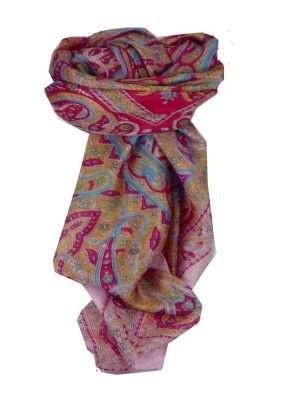 Mulberry Silk Traditional Square Scarf Chail Pink & Red by Pashmina & Silk
