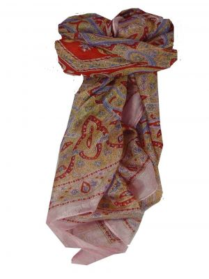 Mulberry Silk Traditional Square Scarf Chail Pink Pashmina & Silk