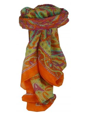 Mulberry Silk Traditional Square Scarf Chail Tangerine by Pashmina & Silk