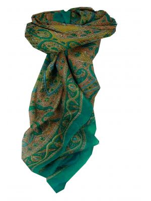 Mulberry Silk Traditional Square Scarf Chail Aquamarine by Pashmina & Silk