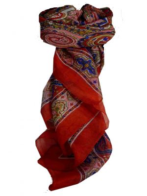 Mulberry Silk Traditional Square Scarf Chakori Red by Pashmina & Silk
