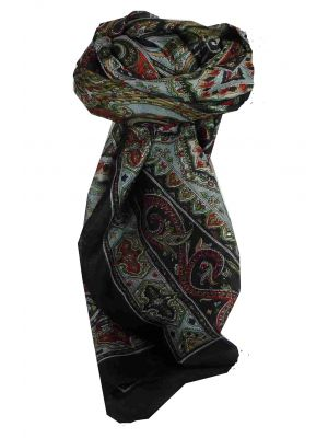 Mulberry Silk Traditional Square Scarf Chakori Black by Pashmina & Silk