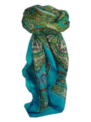 Mulberry Silk Traditional Square Scarf Chakori Light Blue by Pashmina & Silk