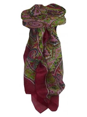 Mulberry Silk Traditional Square Scarf Chakori Wine by Pashmina & Silk