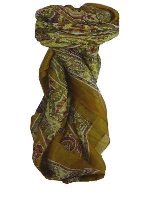 Mulberry Silk Traditional Square Scarf Chakori Caramel by Pashmina & Silk
