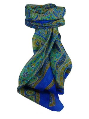 Mulberry Silk Traditional Square Scarf Chiti Blue by Pashmina & Silk