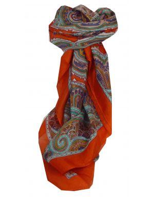 Mulberry Silk Traditional Square Scarf Aylin Terracotta by Pashmina & Silk