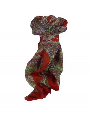 Mulberry Silk Traditional Square Scarf Aylin Flame by Pashmina & Silk